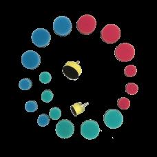 Комплект - Подложки для кругов к гибкому валу + круги - 20 предметов Au-33505